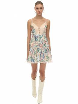 Printed Cotton & Silk Mini Dress Zimmermann 70IXM8003-Q1JFQU0gRkxPUkFM0