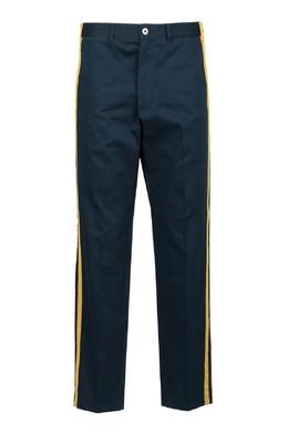Темно-синие брюки с желтыми лампасами Roberto Cavalli 314155156