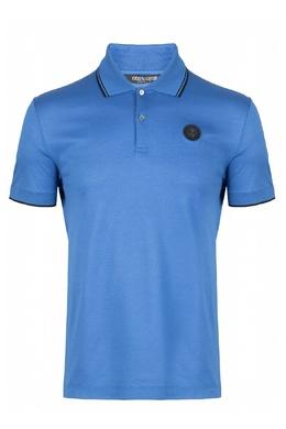 Голубое поло с круглой нашивкой Roberto Cavalli 314155151