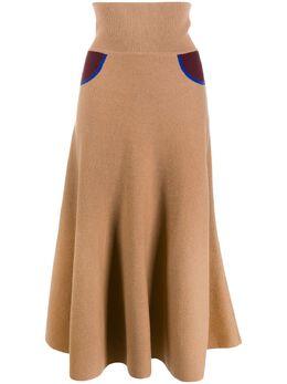 Loewe длинная трикотажная юбка с контрастными вставками D3295150MC