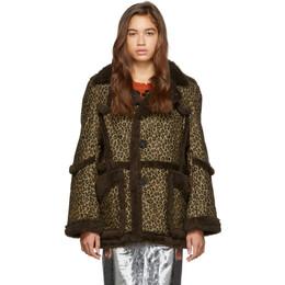 R13 Brown and Tan Imitation Sheepskin Coat R13W7251-PT