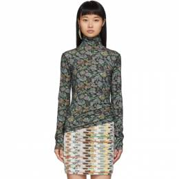 See By Chloe Green Winter Floral Turtleneck CHS19WJH29098