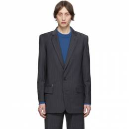 Tibi SSENSE Exclusive Grey Wool Pinstripe Long Blazer F219PE8132
