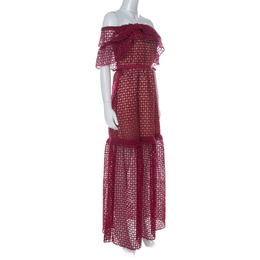 Self-Portrait Red Lace Off Shoulder Frill Cutwork Maxi Dress M