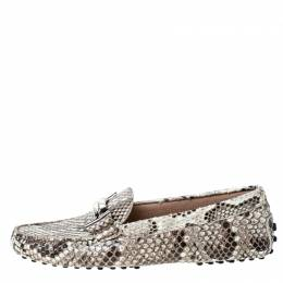 Tod's Beige/Black Python Double T Metal Loafers Size 36 229216