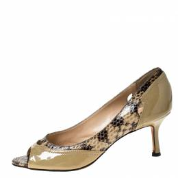 Jimmy Choo Beige Python and Patent Leather Lynne Cut Out Peep Toe Pumps Size 38