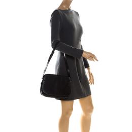 Bally Black Monogram Canvas and Leather Flap Shoulder Bag 227045