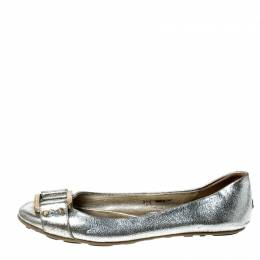 Jimmy Choo Metallic Silver Leather Ballet Flats Size 38.5