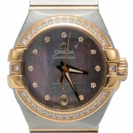 Omega Mother Of Pearl Steel & Rose Gold Diamond Constellation Automatic Women'S Watch 27MM 229866