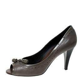 Tod's Grey Leather Tassel Peep Toe Pumps Size 39 229860