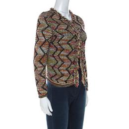 M Missoni Multicolor Knit Fringe Trim Cardigan S 229463