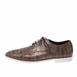 Emporio Armani Brown Croc Embossed Leather Lace Up Derby Size 44 226958