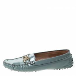 Tod's Grey Patent Leather Chain Detail Slip On Loafers Size 39.5 229819