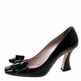 Miu Miu Black Patent Leather Bow Pumps Size 38.5 229814