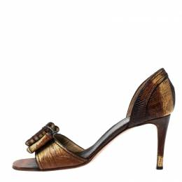 Valentino Two Tone Lizard Leather D'Orsay Bow Sandals Size 39 229926