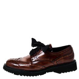 Prada Brown Brogue Leather Spazzolato Oxfords Size 37