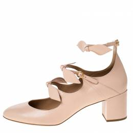 Chloe Beige Leather Bow Strap Sandals Size 41 229242