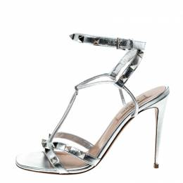 Valentino Metallic Silver Leather Rockstud Strappy Sandals Size 37 229232