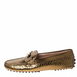 Tod's Bronze Metallic Snakeskin Double T Metal Loafers Size 36 Tod's