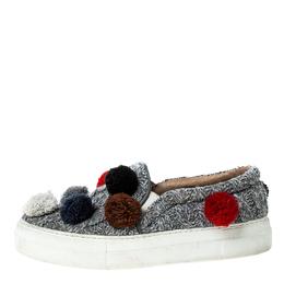 Joshua Sanders Grey Wool Blend Pom Pom Slip On Sneakers Size 39 229228