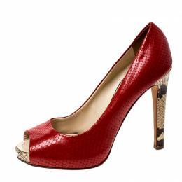Giuseppe Zanotti Design Red Python Embossed Leather Peep Toe Pumps Size 39.5 229829