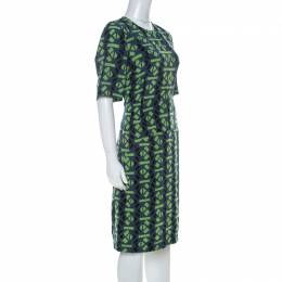 Marni Slate Blue and Green Abstract Geometric Printed Silk Shift Dress M 228357