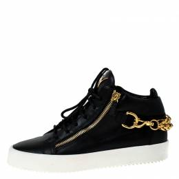 Giuseppe Zanotti Design Black Leather London Chain Embellished High Top Sneakers Size 44