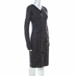 Jil Sander Monochrome Wool Blend Textured Wrap-Button Detail Sheath Dress M 228408