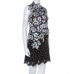 Self-Portrait Black & White Floral Guipure Lace Sleeveless Millie Dress S