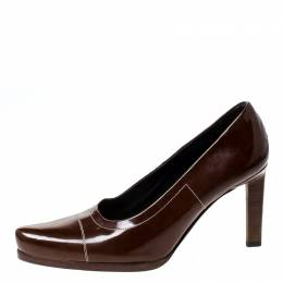 Prada Brown Patent Leather Pointed Toe Pumps Size 38 229788