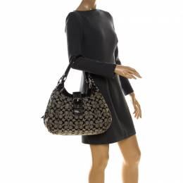 Coach Beige/Black Monogram Canvas and Leather Buckle Shoulder Bag