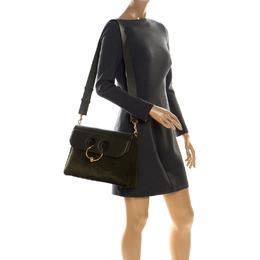 J.W. Anderson Dark Green Suede and Leather Pierce Shoulder Bag