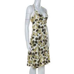 Just Cavalli Green Leaf Printed Cotton Jersey Flared Dress S 229146