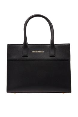 Черная кожаная сумка с логотипом Emporio Armani 2706126909