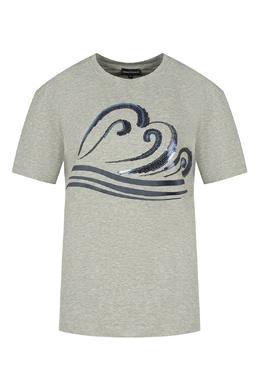 Меланжевая футболка Emporio Armani 2706129333