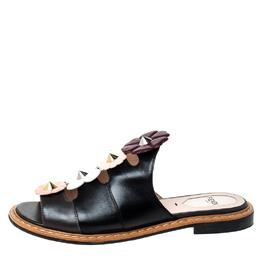 Fendi Black Leather Floral Appliqué Mules Size 36.5 226766