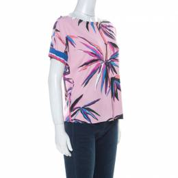 Emilio Pucci Pink Bamboo Print Silk Blend T-Shirt M 228489