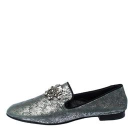 Giuseppe Zanotti Design Metallic Grey/Light Green Crystal Embellished Slip On Loafers Size 44 229848