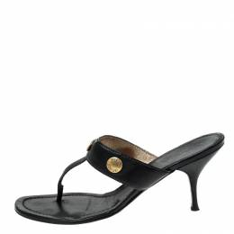 Prada Black Leather Studded Thong Sandals Size 38 229864