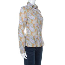 Etro Multicolor Paisley Print Linen Long Sleeve Button Front Shirt S 229863