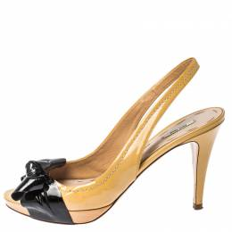 Miu Miu Beige Patent Leather Bow Slingback Peep Toe Sandals Size 37 229862