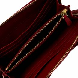 Prada Red Saffiano Leather Bow Zip Around Wallet 230333
