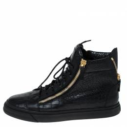 Giuseppe Zanotti Design Black Croc Embossed Leather Double Zipper High Top Sneakers Size 45