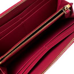 Prada Dark Pink Saffiano Lux Leather Zip Around Wallet 230306