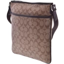 Coach Dark Brown/Beige Signature Canvas Heritage Shoulder Bag