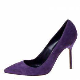 Manolo Blahnik Purple Suede BB Pointed Toe Pumps Size 35