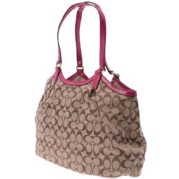 Coach Beige/Pink PVC Signature Canvas Stripe Shoulder Bag