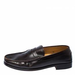 Tod's Dark Brown Leather Penny Loafers Size 44.5 Tod's