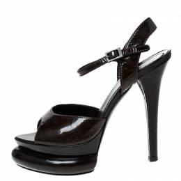 Fendi Two Tone Patent Leather Bubble Platform Ankle Strap Sandals Size 37 229797