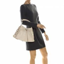 YSL Yves Saint Laurent Beige Leather Rive Gauche Mombasa Shoulder Bag 227033